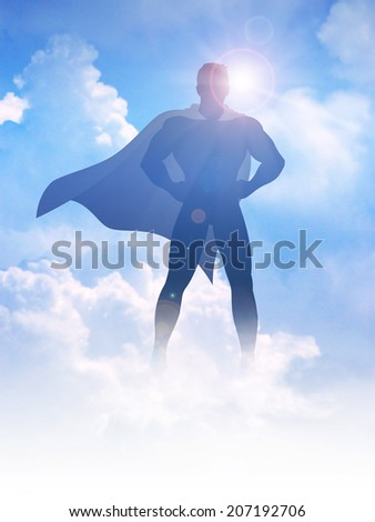 Silhouette illustration of a superhero on clouds background - stock photo