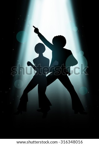 Silhouette Illustration of couple disco dancing under the light  - stock photo