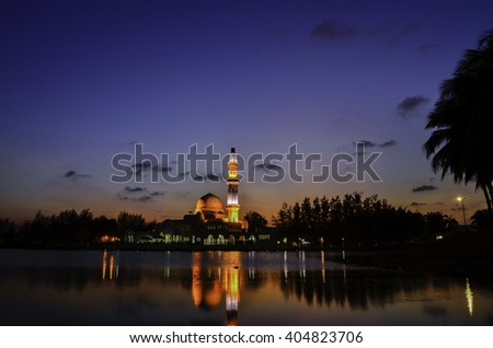 silhouette image of iconic floating mosque in Terengganu, Malaysia.