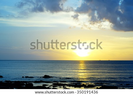 Silhouette image view in evening Koh Lanta beach Krabi Thailand:select focus with shallow depth of field:ideal use for background. - stock photo