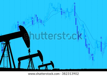 silhouette industrial oil pump jack and falling oil graph on the blue background - stock photo