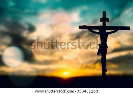 silhouette jesus christ on cross background の写真素材 今すぐ編集