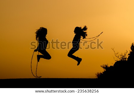 silhouette jump rope - stock photo