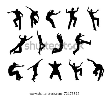 Silhouette Jumping - stock photo