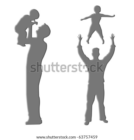 Silhouette love between Father and son - stock photo