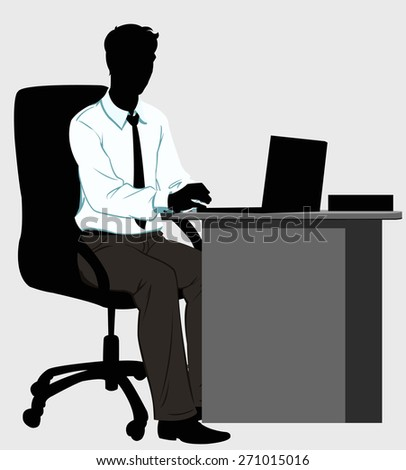 silhouette man at the Desk with laptop - stock photo