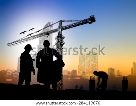 silhouette man engineer construction site over Blurred construction worker on construction site