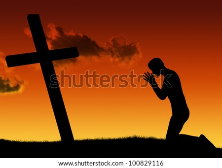 Silhouette man prayer