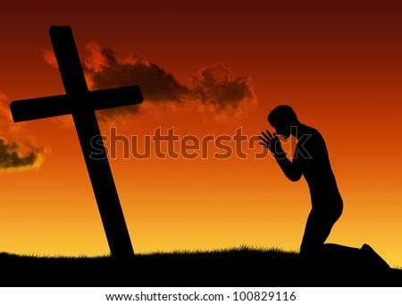 Silhouette man prayer - stock photo