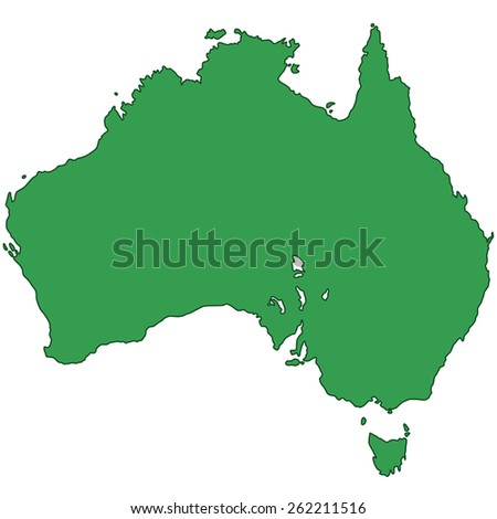 Silhouette map of the Australia