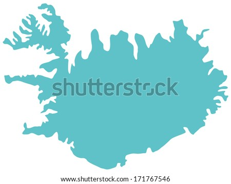 Silhouette map of the Iceland  - stock photo