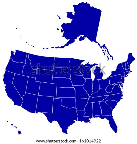 Silhouette map of the USA. Source of map:  http://www.lib.utexas.edu/maps/united_states/n.america.jpg - stock photo