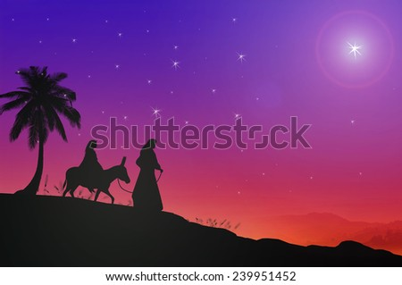 Silhouette Mary and Joseph journeying through the dessert with a donkey on colorful night looking for a place to stay on Christmas Eve. Nativity scene story, Christmas background, Baby Jesus concept. - stock photo
