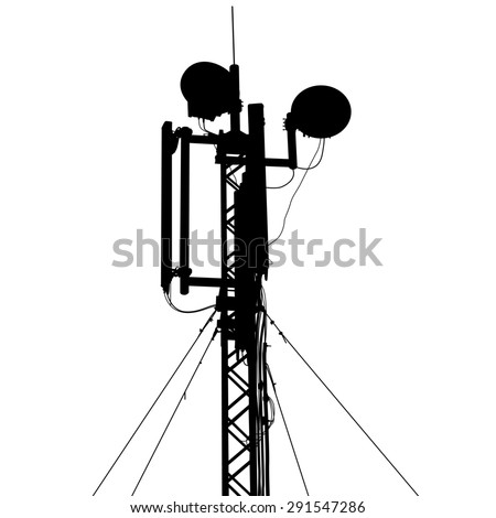 Silhouette mast antenna mobile communications.  illustration.