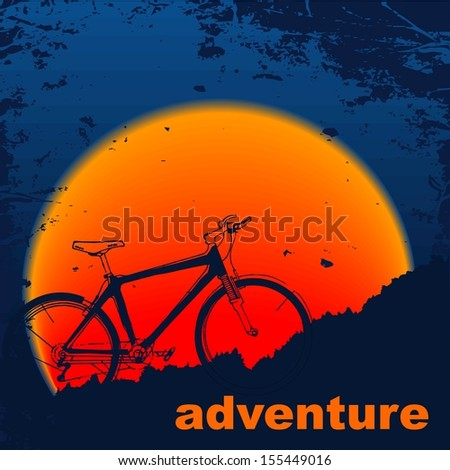 Silhouette  muontain-bike, sunset. Raster version. The original is also available in my gallery - stock photo
