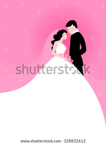 Silhouette of a beautiful bride and groom looing at each other clipart on pink floral background