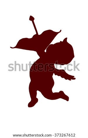 silhouette of a beautiful red cupid, cutted out of paper, on white background, valentines day - stock photo