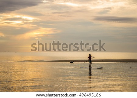 Silhouette of a beautiful woman on Stand Up Paddle Board. art