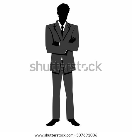 silhouette of a businessman in a business suit