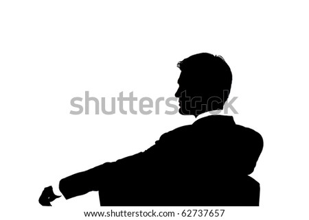 Silhouette of a businessman isolated on white background - stock photo