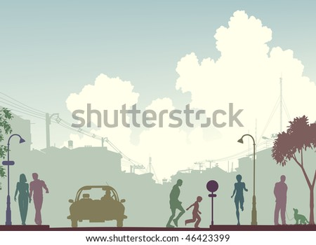 Silhouette of a busy street in colored tones - stock photo
