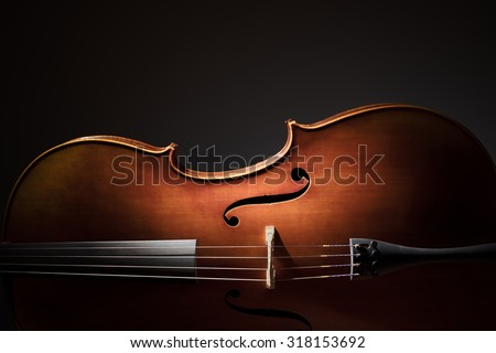 Silhouette of a Cello on black background with copy space for music concept - stock photo