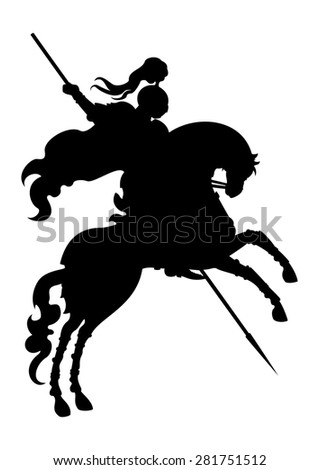 Silhouette of a champion Knight.  Victorious knight with a lance on a horse, stand up on its hind legs. - stock photo