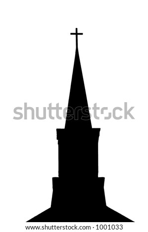 Silhouette of a church steeple (black)  isolated on a white background - stock photo