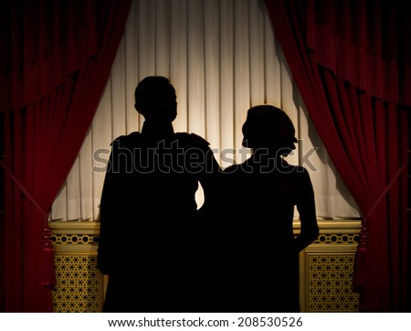 silhouette of a couple - stock photo