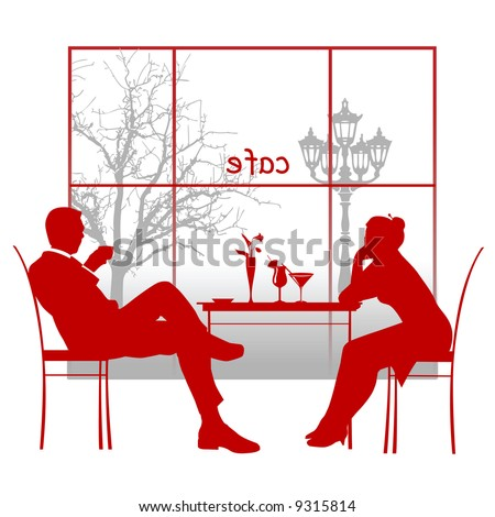 Silhouette of a couple in the cafe. Illustration - stock photo