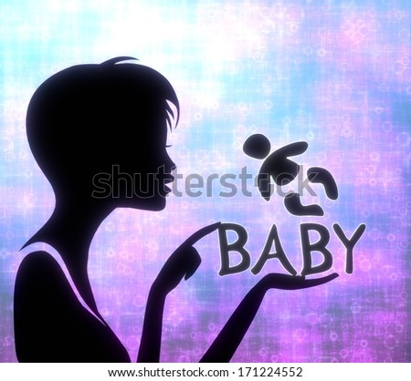 silhouette of a creative girl presenting a glaring baby on modern fresh pink blue background - stock photo