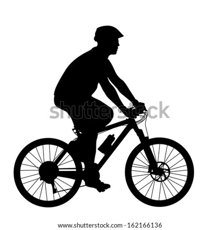 Silhouette of a cyclist male.   illustration. - stock photo