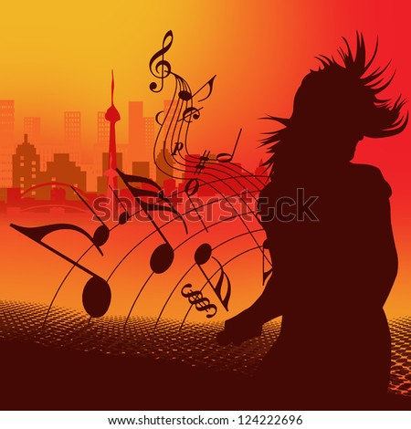 silhouette of a dancing girl on the background of the city - stock photo
