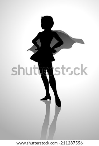 Silhouette of a female figure with superhero suit - stock photo