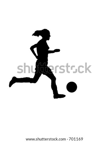 Silhouette of a female soccer player dribbling - stock photo