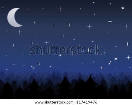Silhouette of a forest and night sky with stars and moon - stock photo