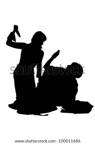 silhouette of a girl beats other girl with a knife, isolated on - stock photo