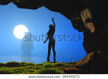 Silhouette of a girl in a cave. - stock photo