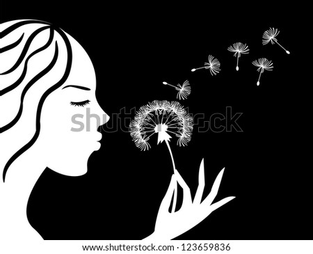 silhouette of a girl in profile blowing on dandelion - stock photo