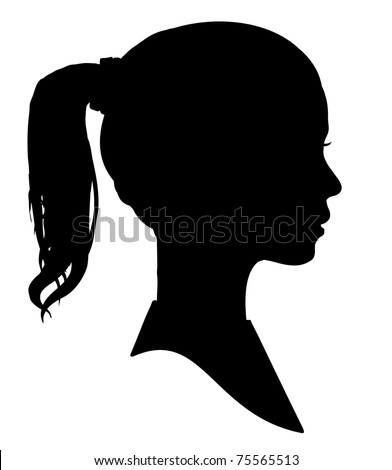 Silhouette of a girls head - stock photo