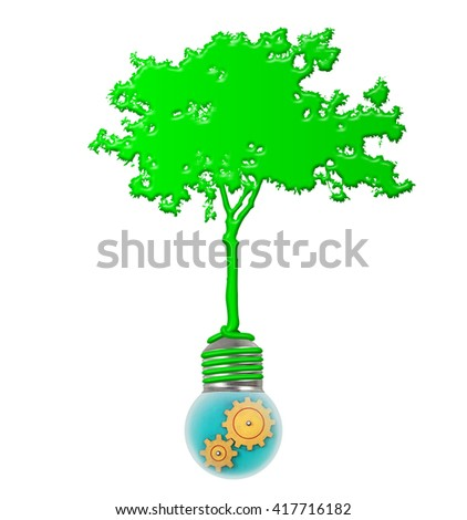 Silhouette of a green tree with roots wrapping around a light bulb with rotating cogwheels for the concept of Green Revolution.