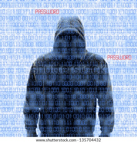 Silhouette of a hacker isolated on white with binary codes on background - stock photo