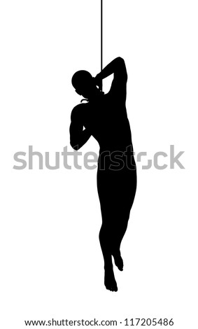 Silhouette of a hanging man - stock photo