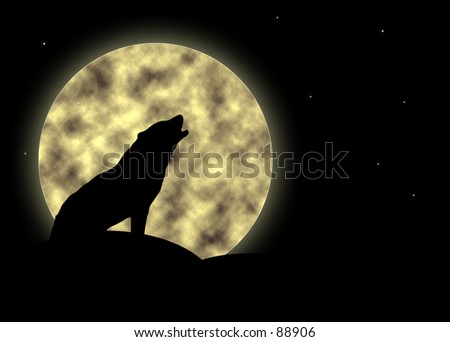 Silhouette of a howling wolf against a full moon - stock photo