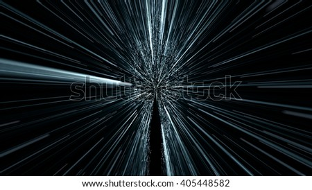 silhouette of a human figure moving in the space through the teleport, hyperspace jump - stock photo