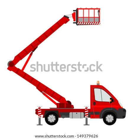 Silhouette of a light cherry picker on a white background.