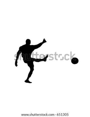 Silhouette of a male soccer goal keeper punting the ball left to right