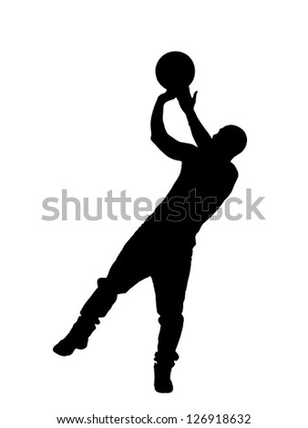 Silhouette of a male throwing volley ball against white background. - stock photo