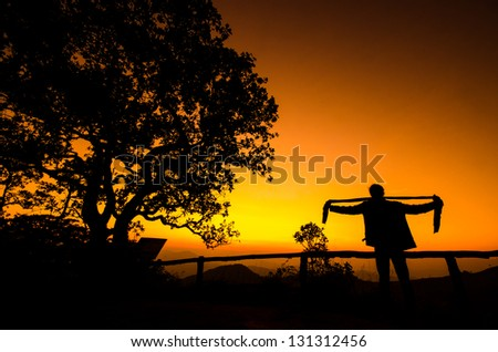 silhouette of a man during sunset in thailand
