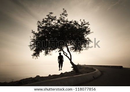 silhouette of a man hanged from a dead tree - stock photo